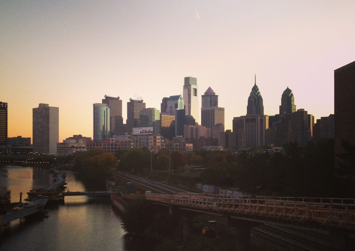 The Philadelphia skyline from the South Street Bridge