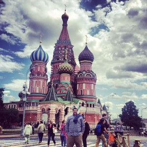 Associate Director of MBA Admissions, Anthony Penna, stops for a quick photo in front of St. Basil's Cathedral in Moscow.